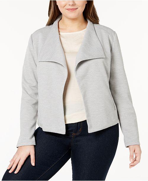 Plus Size Textured Open-Front Jacket