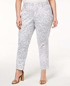 Calvin Klein Plus Size Printed Slim Leg Pants