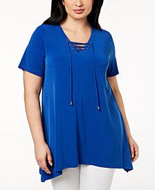 Calvin Klein Plus Size Lace-Up Tunic