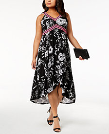 I.N.C. Plus Size Printed Midi Dress, Created for Macy's