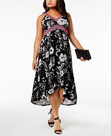 I.N.C. Plus Size Printed Midi Dress, Created for Macy's