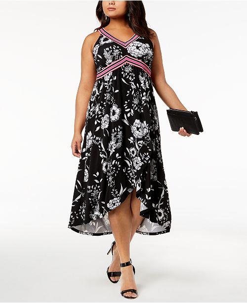 INC International Concepts I.N.C. Plus Size Printed Midi Dress ...