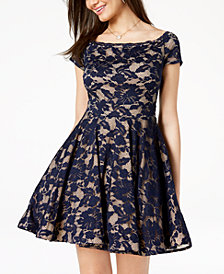 B Darlin Juniors' Off-The-Shoulder Fit & Flare Dress