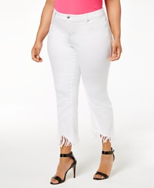 I.N.C. Plus Size Fringed Cropped Jeans, Created for Macy's
