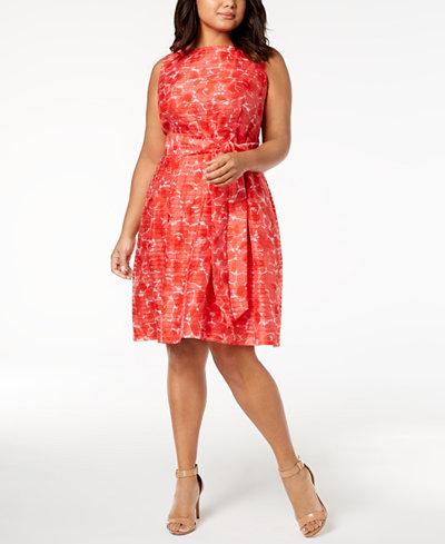 Anne Klein Plus Size Rosewater Shadow-Stripe Fit & Flare Dress