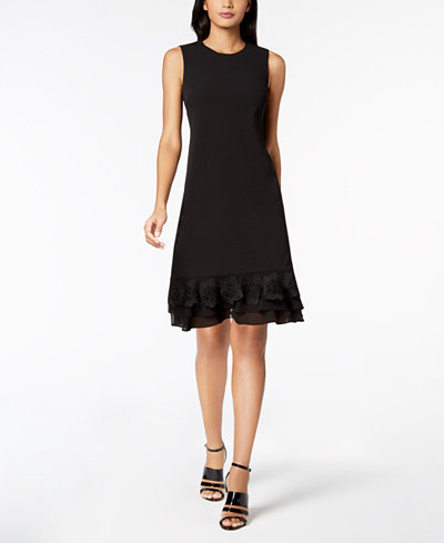 Calvin Klein Lace-Flower Fit & Flare Dress, Regular & Petite