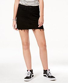 High Rise Black Denim Mini Skirt