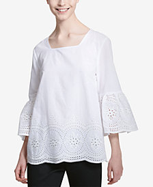 Calvin Klein Cotton Bell-Sleeve Eyelet Top