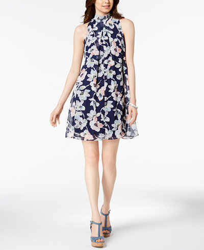 Robbie Bee Petite Floral-Print Mock-Neck Dress