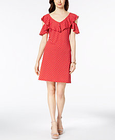 MSK Polka-Dot Cutout Cold-Shoulder Flounce Dress