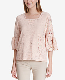 Calvin Klein Laser-Cut Square-Neck Top