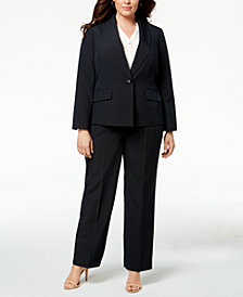 Le Suit Plus Size Striped Pantsuit
