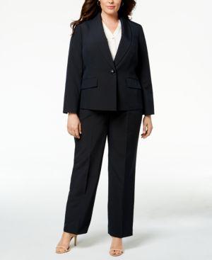 Le Suit Plus Size Striped Pantsuit 5960196