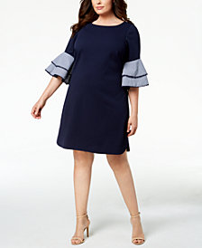 Jessica Howard Plus Size Solid & Gingham Bell-Sleeve Dress