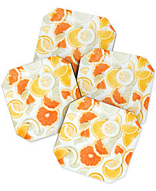 Deny Designs Ingrid Beddoes Citrus Orange Twist Coaster Set