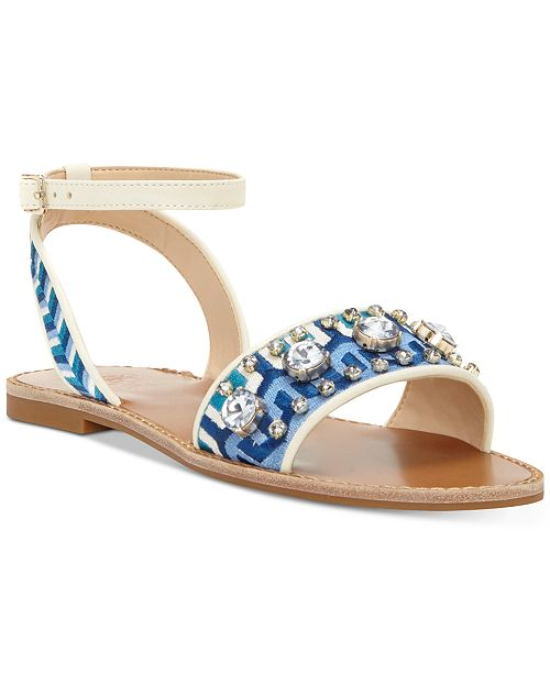 Vince Camuto Akitta Embellished Flat Sandals Women's Shoes QF0ha