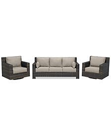Viewport Outdoor Wicker 3-Pc. Seating Set (1 Sofa & 2 Swivel Gliders) Custom Sunbrella Colors, Created for Macy's