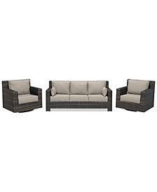 Viewport Outdoor Wicker 3-Pc. Seating Set (1 Sofa & 2 Swivel Gliders) Custom Sunbrella Colors, Created for Macy's