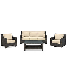 Viewport Outdoor Wicker 4-Pc. Seating Set (1 Sofa, 1 Club Chair, 1 Swivel Glider & 1 Coffee Table) with Custom Sunbrella® Colors, Created for Macy's