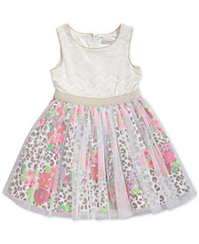 Sweet Heart Rose Glitter-Mesh Animal-Print Dress, Little Girls