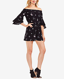 Vince Camuto Printed Off-The-Shoulder Romper