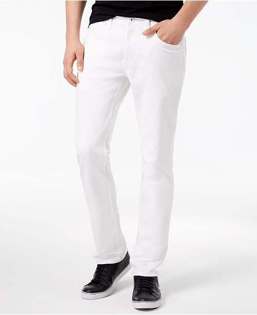 INC International Concepts INC Men's Teller Slim-Fit White Jeans, Created for Macy's
