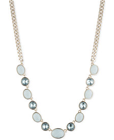 "DKNY Gold-Tone Crystal & Stone Collar Necklace, 16"" + 3"" extender, Created for Macy's"