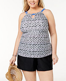 GO by Gossip Plus Size Keyhole Tankini Top & Swim Shorts, Created for Macy's