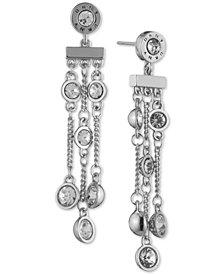 DKNY Crystal & Logo Triple-Row Linear Drop Earrings, Created for Macy's