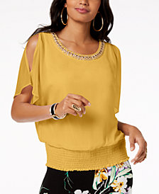 Thalia Sodi Embellished Strappy V-Back Top, Created for Macy's