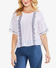 Vince Camuto Pleated Ruffle-Sleeve Top