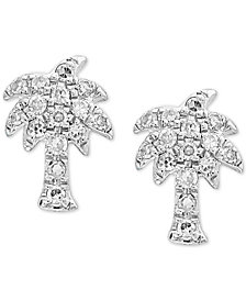 EFFY Kidz® Diamond Palm Tree Stud Earrings (1/10 ct. t.w.) in 14k White Gold