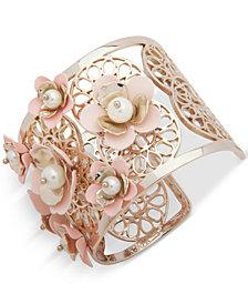 Ivanka Trump Gold-Tone Imitation Pearl & Flower Cuff Bracelet