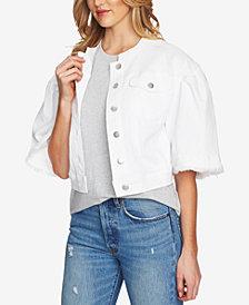 1.STATE Collarless Wide-Sleeve Denim Jacket