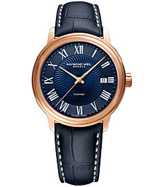 RAYMOND WEIL Men's Swiss Automatic Maestro Blue Leather Strap Watch 39.5mm