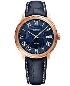 RAYMOND WEIL Men's Swiss Automatic Maestro Blue Leather Strap Watch 39.5mm