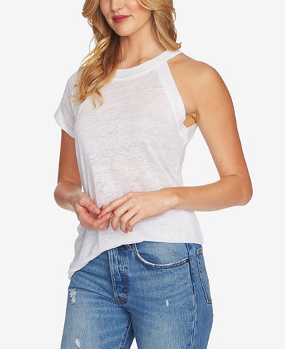 1.STATE Linen One-Sleeve Knit Top