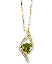 "EFFY® Peridot (1-3/4 ct. t.w.) & Diamond Accent 18"" Pendant Necklace in 14k Gold"