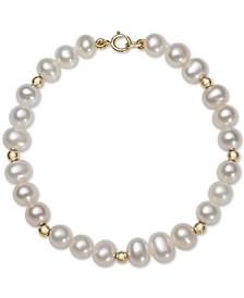 Children's Cultured Freshwater Pearl (5mm) & Bead Bracelet in 14k Gold