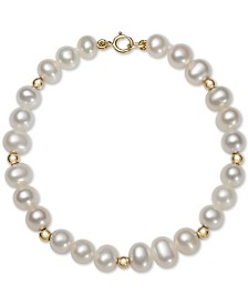 Children's Cultured Freshwater Pearl (5mm) & Bead Bracelet in 14k Gold