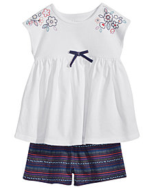 First Impressions Bow Tunic & Striped Shorts Separates, Baby Girls, Created for Macy's