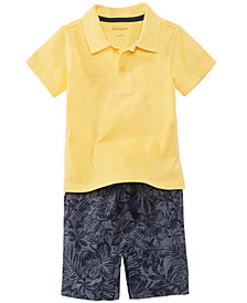 First Impressions Polo Shirt & Printed Shorts Separates, Baby Boys, Created for Macy's