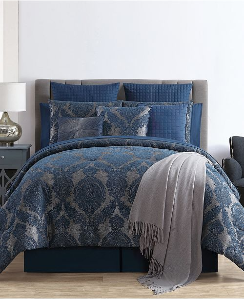 Intricate Blue Damask Designs And Luxe Woven Textures Come Together On The Gabrielle Jacquard Bed In A Bag Comforter Set For Classic