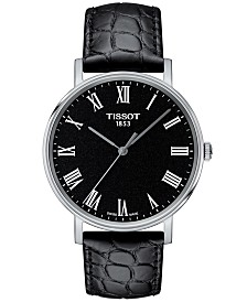 Tissot Men's Swiss T-Classic Everytime Black Leather Strap Watch 38mm