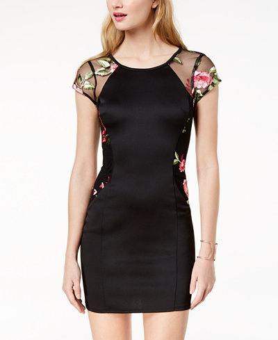 BCX Juniors' Embroidered-Mesh Bodycon Dress