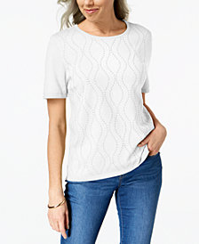 Alfred Dunner Petite Vertical Waves Embellished Sweater