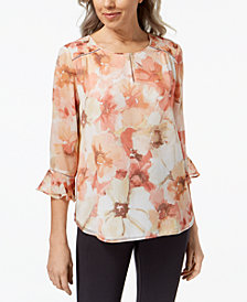 Alfred Dunner Petite Floral-Print Ruffle-Sleeve Top