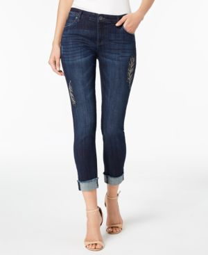 Kut from the Kloth Petite Amy Embroidered Ankle Jeans 5897658