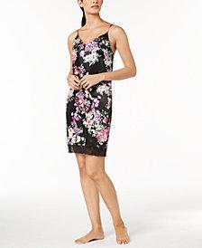 Linea Donatella Floral-Print Lace-Trim Chemise