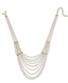 "I.N.C. Gold-Tone Crystal & Bead Multi-Row Statement Necklace, 18"" + 3"" extender, Created for Macy's"